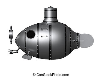 submarine 2 - 3d illustration of an ancient submarine