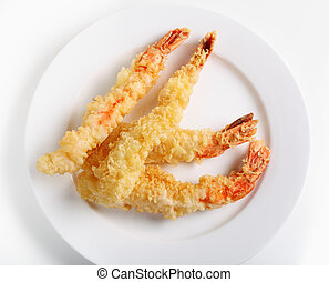 Tempura prawns from above - Huge tiger prawns, fried in...