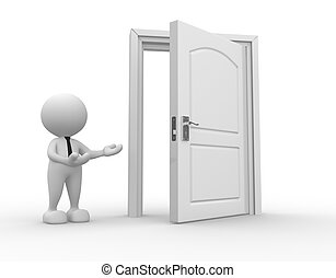 Businessman - 3d people - man, person and a open door....