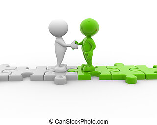 Businessman - 3d people - men, person shaking hands on...