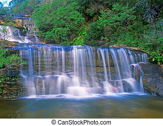 Wentworth Falls waterfall in Blue Mountains, Australia near...