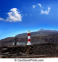 La Palma Fuencaliente lighthouse in saltworks at Canary...