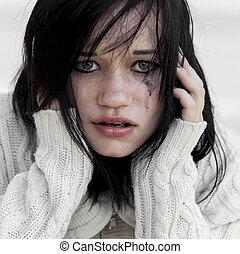 triste, menina, suéter