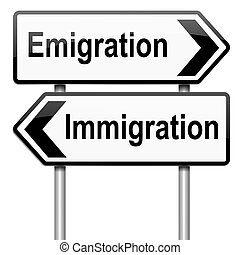 Immigration or emigration - Illustration depicting a...