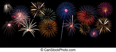Group of brightly colored fireworks on Fourth of July