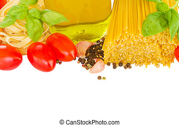 pasta ingredients - border of ingredients for italian pasta...