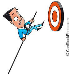 Businesssman jumping to get targets - Isolated illustration...