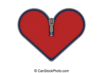 Red heart zip isolated on white - 3D model rendering of red...