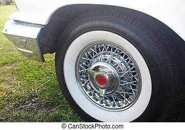 Detail of white retro car