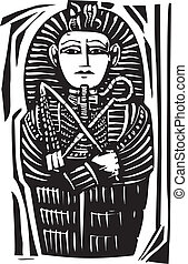 Egyptian Sarcophagus - Woodcut Egyptian sarcophagus for a...