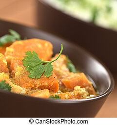 Sweet Potato Curry with Cilantro - Bowl of vegetarian sweet...