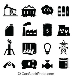 Oil and energy icon set in black