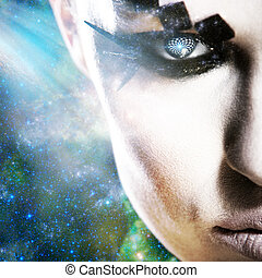 Alien look, abstract female portrait against space...