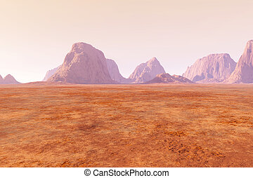 Mars - Virtual landscape on the Mars 3D rendered...