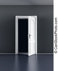 Open Door - A open door in a empty room 3D rendered...