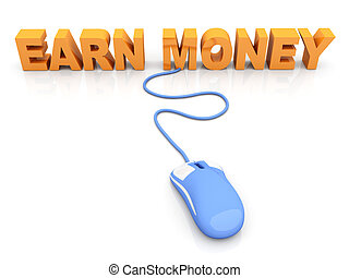 Earn Money online 3D rendered Illustration Isolated on white...