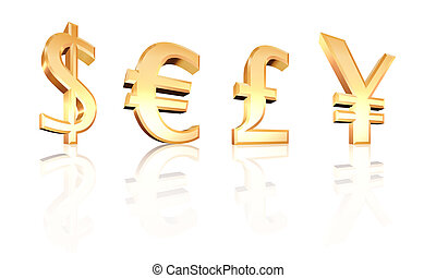 dollar euro pound yen signs 3d