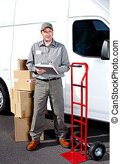 Delivery postal service man. - Happy professional shipping...