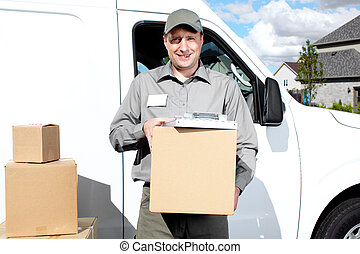 Delivery postal service man - Happy professional shipping...