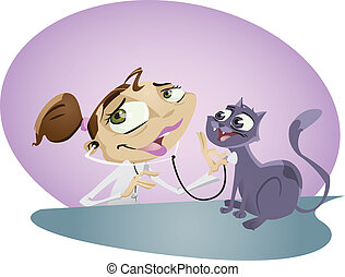 Vet - A happy cartoon vet nurse takes care of cute little...