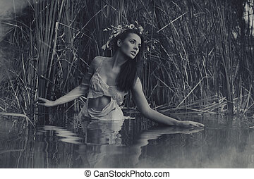 Black-white portrait of beautiful girl