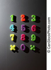 Colorful numbers - Set of colorful numbers on metallic...