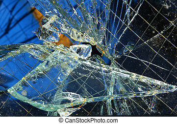 Broken Glass - A Piece of Broken Safety Glass