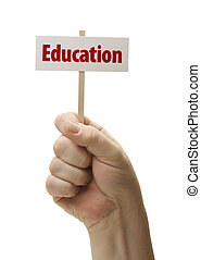 Education Sign In Fist On White