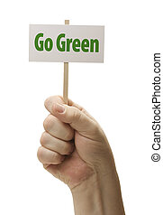 Go Green Sign In Fist On White