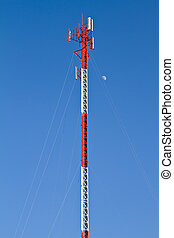 Communication tower on blue sky
