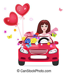 Happy girl with gifts by car