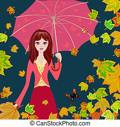 Girl with an umbrella in the autumn falling leaves
