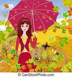 Girl with umbrella in autumn park