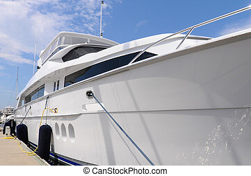 Large Luxury Yacht - Beautiful triple deck luxury yacht tied...
