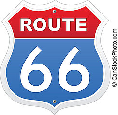 Route 66 sign in red and blue on white