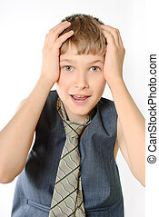 Portrait of a teenager isolated on a white background