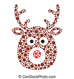 Christmas reindeer rudolf icon - Xmas card - vector brown...