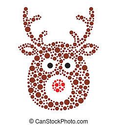 Christmas reindeer rudolf icon - Xmas card - vector brown...