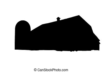 Silhouette barn - Silhouette view of a barn on white...
