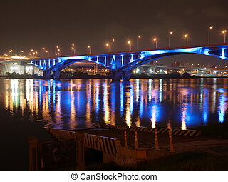 Highway bridge with blue light at night - Highway bridge...