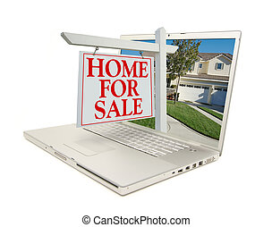 Home for Sale Sign & New Home on Laptop isolated on a white...