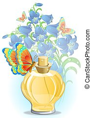 Perfume bottle - perfume bottle with butterfly and blue...