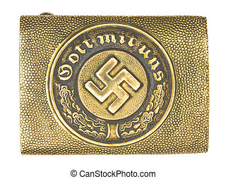 bronze belt with swastika sign - Close-up shot of German...