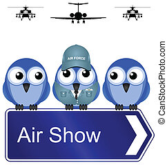 air show - Comical air show sign isolated on white...