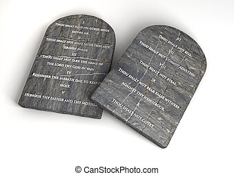 The Ten Commandments - Two stone tablets with the ten...