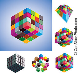 Illustration of colorful and mono-chromatic 3d cubes...