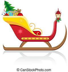 christmas sleigh of santa claus with gifts vector...