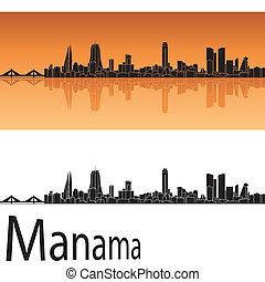 Manama skyline in orange background in editable vector file