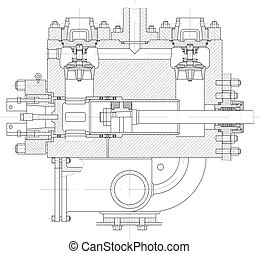 Hydraulic piston pump part - Sketch. Hydraulic piston pump...