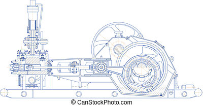 Drilling triplex pump - Sketch. Drilling triplex pump. EPS...